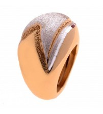 Silver ring large model gold and satin