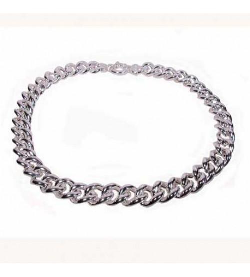 Silver necklace, model gourmette, inside empty