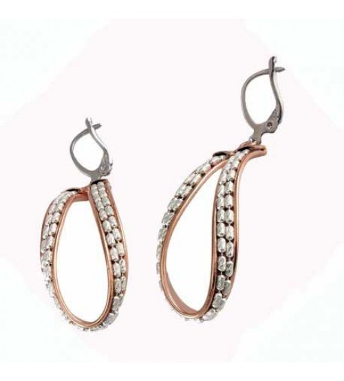 Drop earrings in silver rose wine with white chain