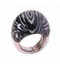 Silver ring enamel zebra