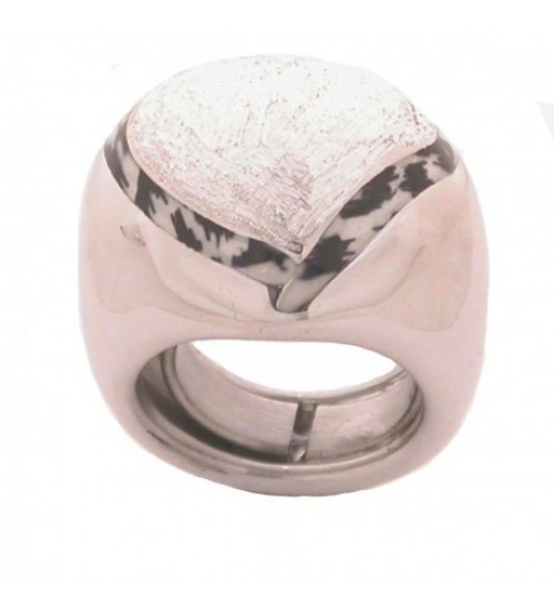 Big silver ring  with enamel heart