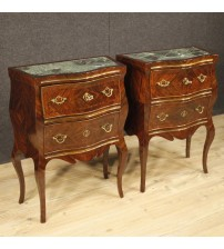 Pair of Sicilian bedside tables inlaid in violet wood
