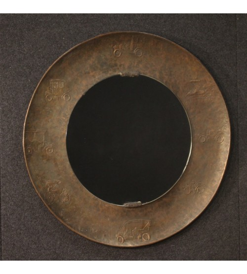 Italian Bragalini mirror in chiseled brass