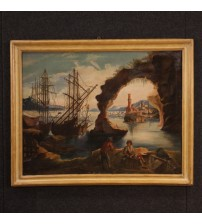 Antique Italian seascape painting from 19th century