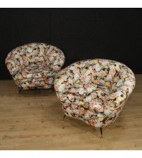 Italian design armchairs with floral fabric