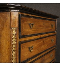 Antique Lombard chest of drawers in wood from 18th century to be restored
