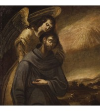 Antique Spanish religious painting St. Francis with angel from 17th century